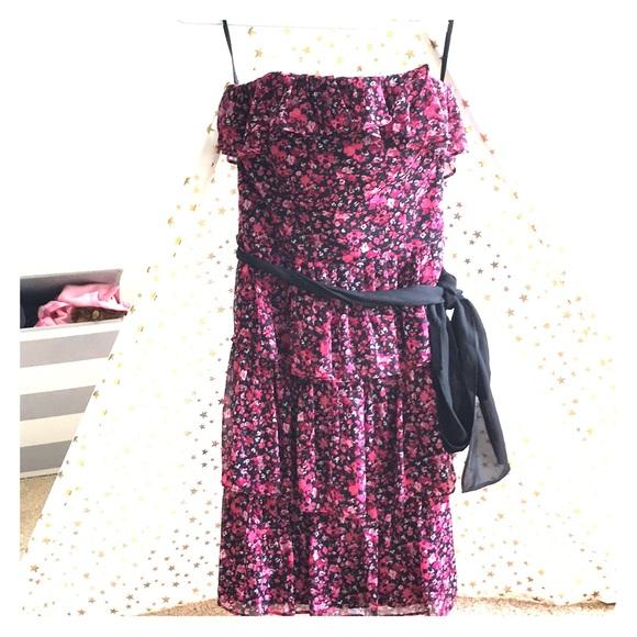 House Ruffled White Dress Market DressesStrapless Black Floral 8Pn0wkOX